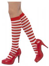 Long Stripped Red & White Socks